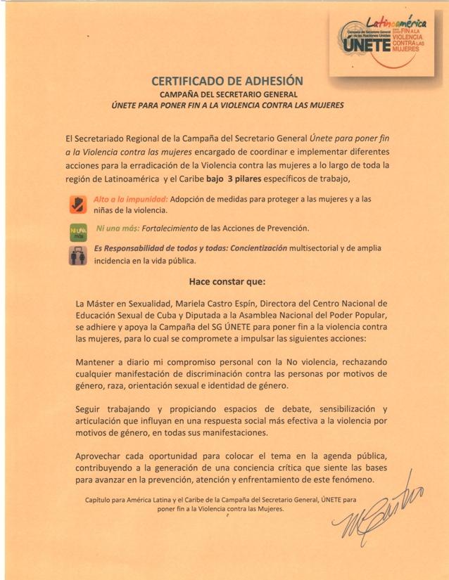 Certificado de adhesión del CENESEX a la campaña ÚNETE